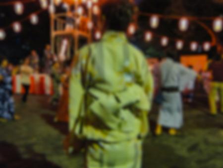 여름, 일본에서 OBON 댄스 축제 배경 준비가 기모노를 착용하는 여자 흐리게 스톡 콘텐츠