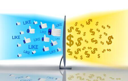 3 d イラスト。ようなまたは社会的なメディア変換技術によってお金をことをからの眺め 写真素材 - 82369335