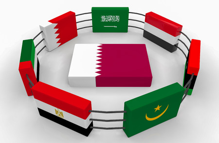 3d rendering. qatar country flag on the floor which surround by some middle east country  flags. Qatar diplomatic crisis concept Stock Photo