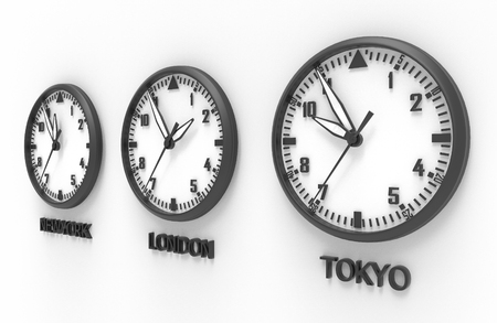 3d illustration of TOKYO, LONDON and NEW YORK time clock