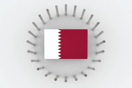 3d rendering. Top view of qatar country flag on the floor which surround bysteel pipes. Qatar diplomatic crisis concept Stock Photo - 81970412