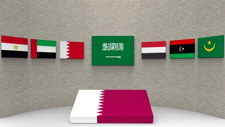 3d rendering of some country of middle east flags on the wall with qatar country flag on the floor. as Saudi Arabia, Egypt, Bahrain, the UAE, Yemen, eastern Libya and Mauritanie have a wall to banned or boycott Qatar concept.