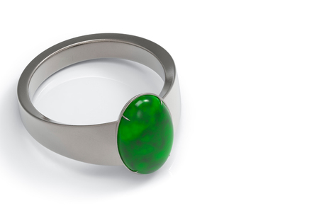 3d rendering. Realistic luxurious green Jade ring on white background