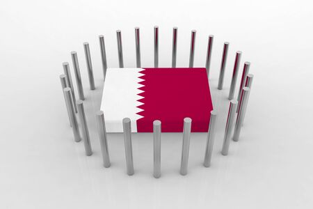 3d rendering. qatar country flag on the floor which surround bysteel pipes. Qatar diplomatic crisis concept