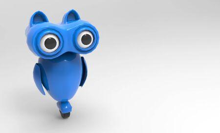 青いフクロウ ロボットの 3 d レンダリング 写真素材