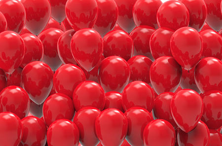 red balloons: 3d illustration. red balloons group background Stock Photo