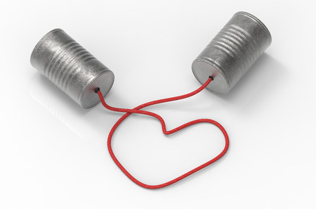 3d illustration. tin cans telephone connected by heart shape of rope. . talk and connect with love concept. Standard-Bild