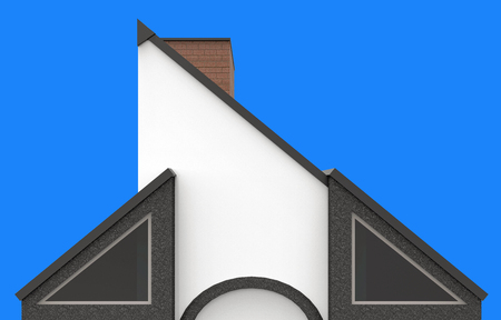 3d illustration of modern house tri angle  wall and clear blue sky Stok Fotoğraf