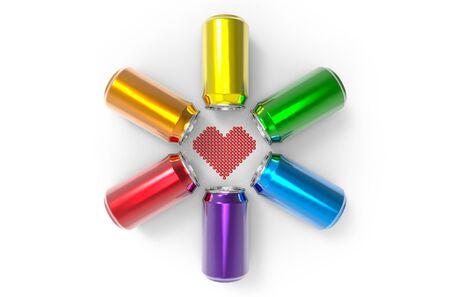 cola canette: Illustration 3d. forme de coeur entourée par un groupe coloré de cannes sur fond blanc. Concept de couleur LGBTQ ou LGBT