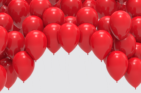 3d illustration. red balloons background with white blank space