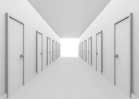 3d rendering. White tone Hallway and many doors with light and the end of the way. several Selection to the goal or success in business concept.