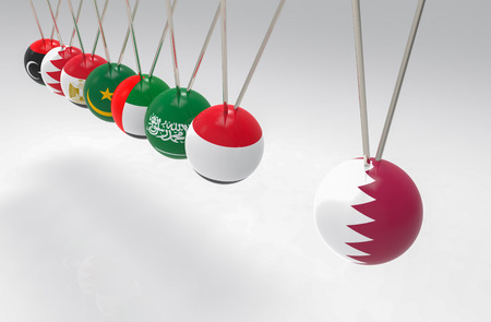3d rendering. before hitting of some middle east flags  pendulum to qatar sphere ball. bully, banned or boycott concept.