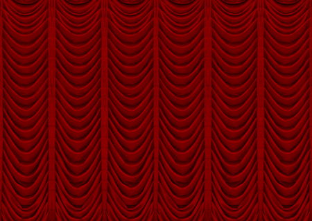 3d rendering. Classic red curtains texture wall background. 写真素材