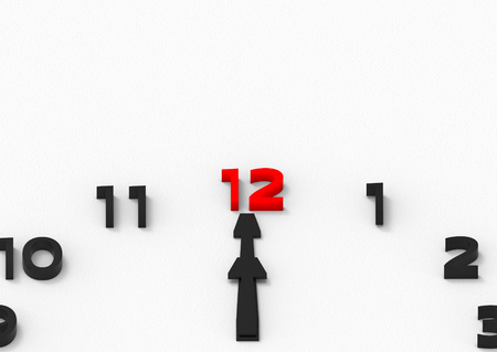 3d rendering. red twelve number on clock, At noon as a favorite time of everyone concept. Stok Fotoğraf