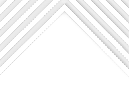 3d rendering. Abstract diagonal white bars arrange in triangle facade shape on copy space background.