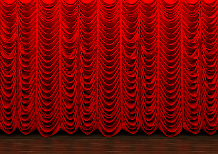 3d rendering. Long red luxury curtains hanging on the wood stage. 写真素材