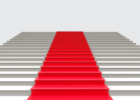 3d rendering. Red carpet on gray stair up to successful.