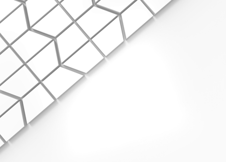 3d rendering. White trapezoid shape pattern tiles on copy space background.