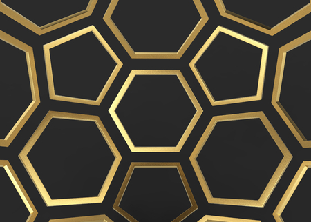 3d rendering. Luxury golden hexagonal and pentagonal shape on dark wall background.