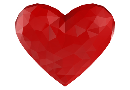 3d rendering. low Tri polygon in Red Heart shape isolated on White background with clipping path. Stock Photo