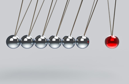 3d rendering. before hitting of pendulum group to a red ball. all force effect to one concept