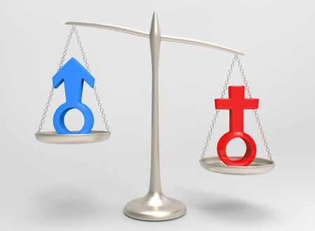 3d rendering. Red female and blue male gender sign on silver balance scale which Woman side is Heavy then man side. unequal or gender pay gap concept. 版權商用圖片