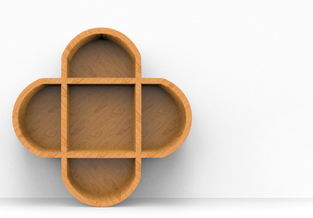 3d rendering. A new modern wood flower shape shelf with copy space gray cement wall as background.