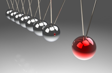 3d rendering. perspective view of before hitting of red ball to another pendulum group. One force effect to all concept. Stock Photo