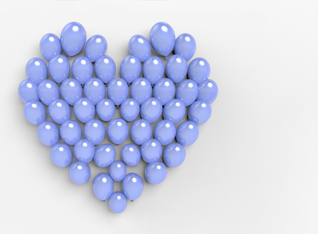 3d rendering. blue balloons compose to be a heart shape on white copy space background.
