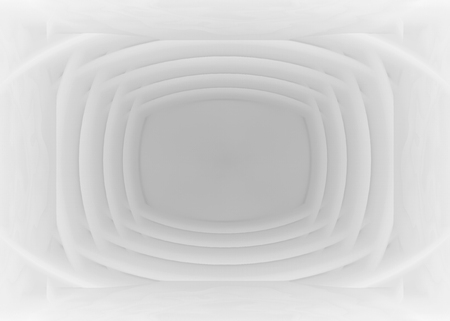 3d rendering. Abstract modern overlap White curve pattern in square monitor shape wall background. Stock Photo
