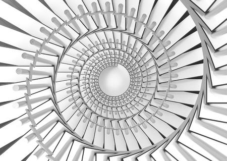 3D-Rendering. Weißer und grauer Wendeltreppenhintergrund. Standard-Bild