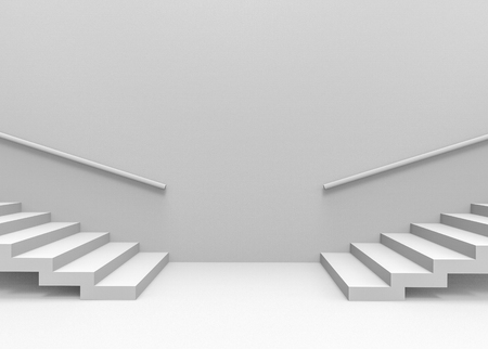 3d rendering. Two way of staircase for choosing the next step for life concept.