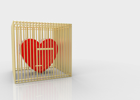 3d rendering. Red Heart in gold wire steel cage on copy space gray background. No freedom to choosing the own love way concept.