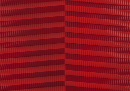 3d rendering. stack of dark and light red color geometry shape wall background.