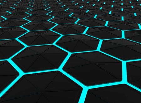 3d rendering. Abstract modern Dark Hexagonal shape pattern on surrounded by Blue light background. Stockfoto