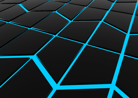 3d rendering. Abstract modern black trapezoid shape pattern tile surrounded by blue light wall background. Stock Photo