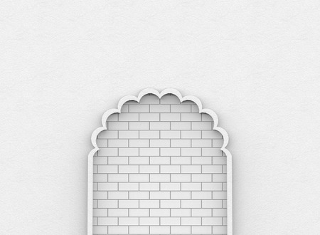 3d rendering. Abstract white brick blocks wall behide cement door background. Stalemate or helpless way concept.