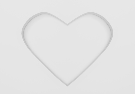 3d rendering. white and gray tone color concave heart shape wall background for valentine or any special time. 写真素材