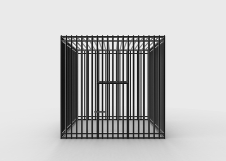 3d rendering. Square black steel wire cage on gray background. No freedom concept. Stok Fotoğraf