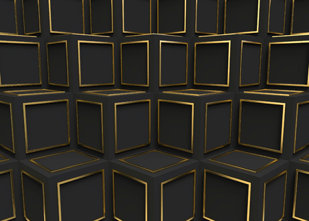 3d rendering. modern luxury golden frame on dark cube boxes stack wall background.
