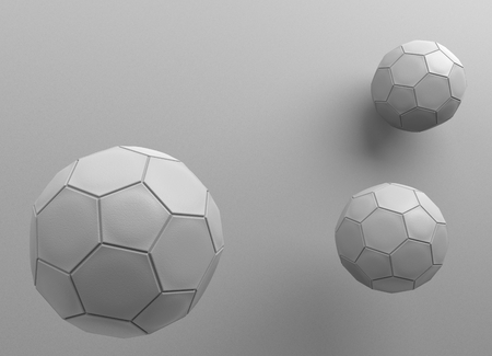 3d rendering. three leather footballs with gray wall as background. Archivio Fotografico