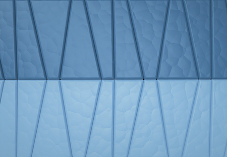 3d rendering. Abstract dark and light blue trapezoid pattern wall background.