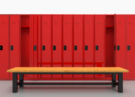 3d rendering. Red Lockers row with brown wood bench on gray floor. Reklamní fotografie