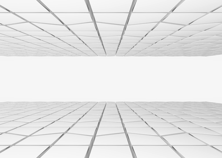 3d rendering. gray trapezoid shape pattern tiles ceiling and floor background. Stock Photo