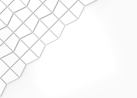 3d rendering. White trapzoid shape pattern tiles on copy space background.