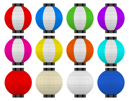 3d rendering. Several color of japanese traditional sphere lanterns isolated on white background with clipping path