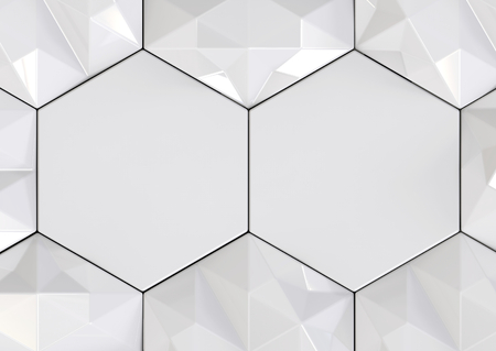 3d rendering. modern Empty space of hexagon shape among lowpoly background.