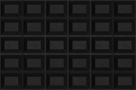 3d rendering. Abstract black square wood panels texture wall background.