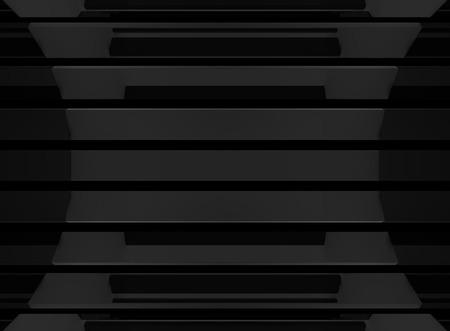 3d rendering. Abstract Drak black horizontal bars wall background.