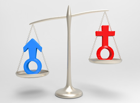 3d rendering. Red female and blue male gender sign on silver balance scale which man side is Heavy then woman side. unequal or gender pay gap concept.